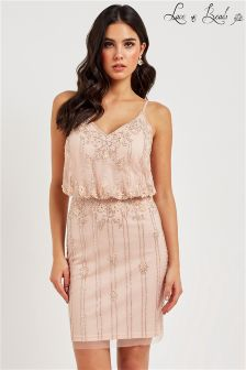 Lace & Beads Embellished V Dress
