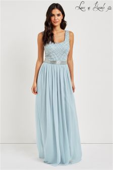 Lace & Beads Embellished Low Neck Maxi Dress