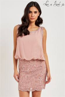 Lace & Beads Blousan Dress With Embellished Skirt