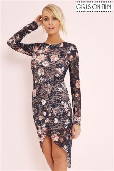 Girls On Film Floral Printed Long Sleeve Bodycon Dress