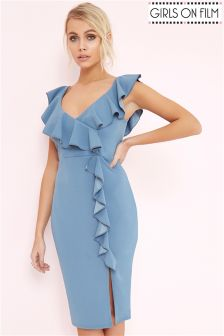 Girls On Film Sage Ruffle Bodycon Dress