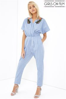 Girls On Film Denim Embroidered Jumpsuit