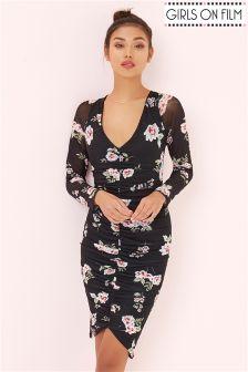 Girls On Film Floral Print V Neck Midi Dress