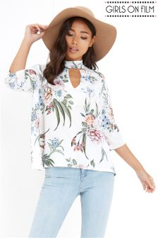 Girls On Flim Print High Neck Floral Print Top