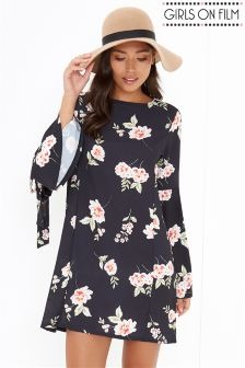 Girls On Film Flared Sleeve Floral Tunic Dress