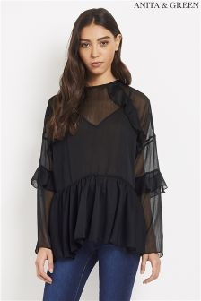 Anita & Green Sheer Ruffle Blouse