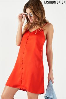 Fashion Union Satin Button Slip Dress