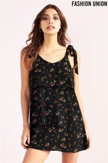 Fashion Union Tiered Floral Print Dress
