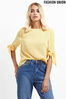 Fashion Union Bow Sleeve Detail Top