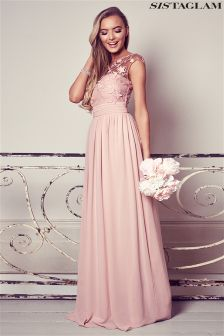 Sistaglam Embroidered And Lace Maxi Dress