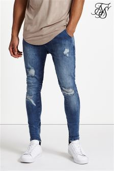 Siksilk Repaired Low Rise Denim Jeans