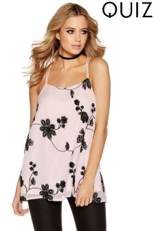 Quiz Chiffon Embroidered Strappy Swing Top