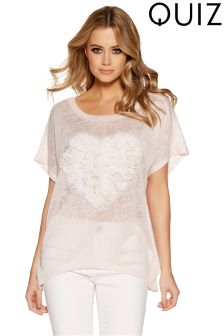 Quiz Love Heart Applique Batwing Top