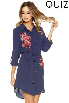 Quiz Crepe Flower Embroidered Tie Belt Shirt Dress