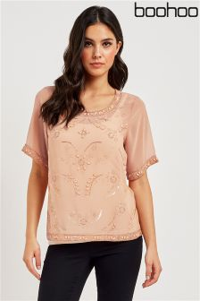 Boohoo Embellished Front Shell Top
