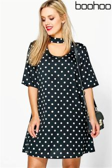 Boohoo Plus Spot Choker Shirt Dress