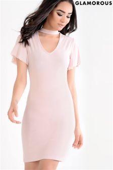 Glamorous V neck Choker Dress
