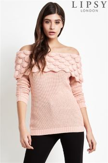 Lipsy Scallop Knitted Bardot Jumper