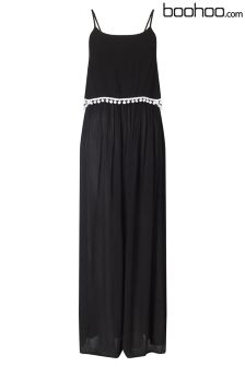 Boohoo Petite Pom Pom Trim Maxi Dress