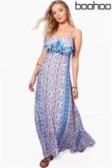 Boohoo Petite Paisley Split Front Tassle Maxi Dress