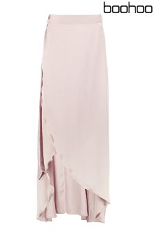 Boohoo Petite Wrap Front Maxi Skirt