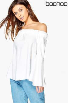 Boohoo Petite Woven Frill Off Shoulder Top