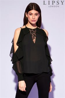 Lipsy Cold Shoulder Frill Blouse