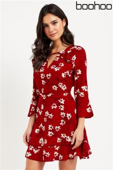 Boohoo Floral Ruffle Tea Dress