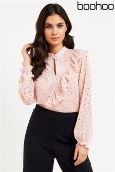 Boohoo Ruffle Long Sleeve Blouse