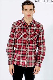 Bellfield Curved Collar Pocket Long Sleeve Shirt