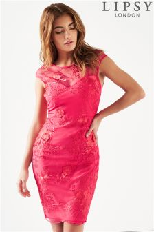 Lipsy Sheer 3D Embroidered Bodycon Dress