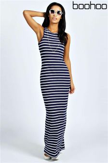 Boohoo Striped Cut Away Maxi Dress