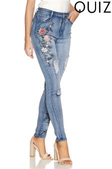 Quiz Stretch Denim Pastel Floral Embroidered Jean