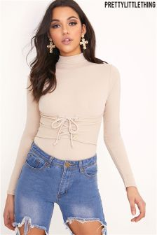 PrettyLittleThing Corset Detail Long Sleeve Bodysuit