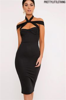 PrettyLittleThing Strap Detail Midi Dress