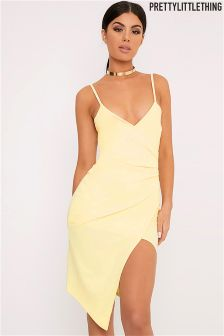 PrettyLittleThing Wrap Front Crepe Midi Dress