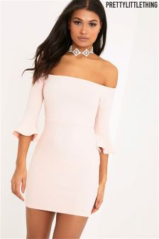 PrettyLittleThing Bardot Frill Cuff Bodycon Dress