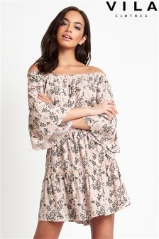 Vila Printed Off Shoulder Dress