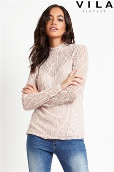 Vila Turtle Neck Lace Top