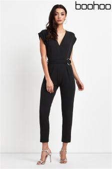 Boohoo Wrap Front O Ring Jumpsuit