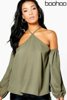 Boohoo Cold Shoulder Tie Neck Top