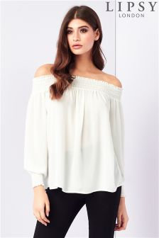 Lipsy Shirred Bardot Top