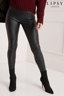 Lipsy Smooth & Slim Coated Mid Rise Power Jeggings
