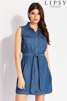 Lipsy Sleeveless Denim Shirt Dress