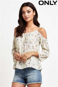 Only Cold Shoulder Ditsy Print Top