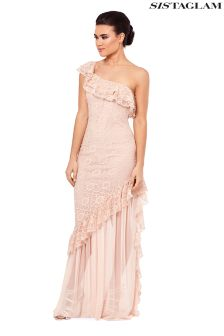 Sistaglam One Shoulder Lace Frill Maxi Dress