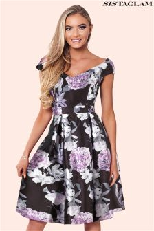 Sistaglam Floral Sateen Prom Dress