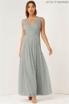 Little Mistress Lace Pleated Maxi Dress