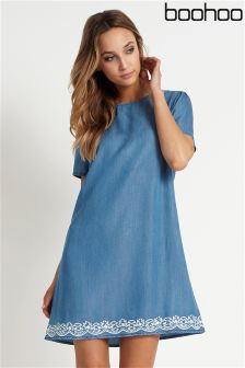 Boohoo Embroidered Hem Shift Dress