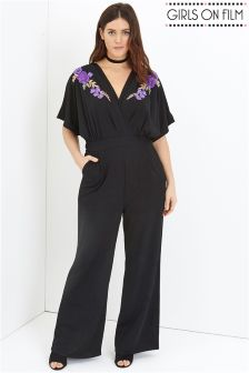 Girls On Film Curve Embroidered Jumpsuit